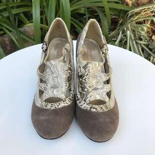 Bonbon Suede/snakeskin Chunky Heels