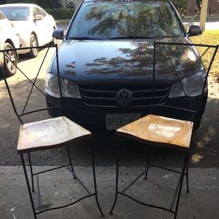 Two Rod Iron Bar Stools