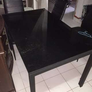 All Black Glass Dining Table