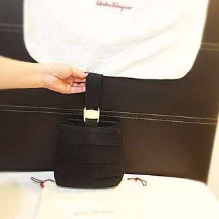 Salvatore Ferragamo Black Hand Bag  Made in Italy