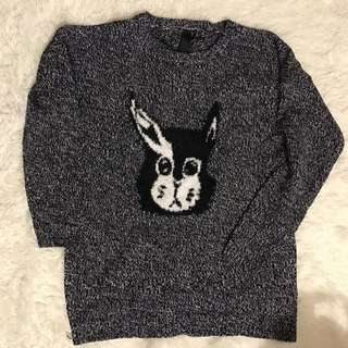 Grey Print Sweater