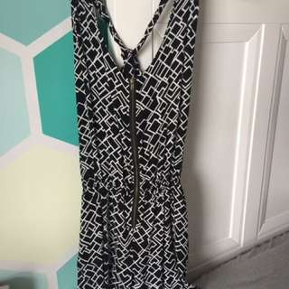 Black and white romper with zip