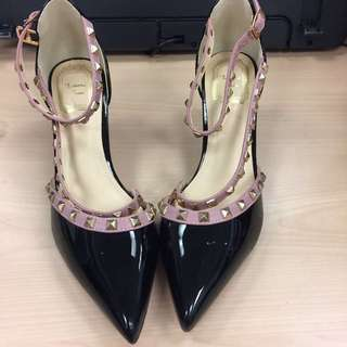 Black and Pink with Rockstud Heels