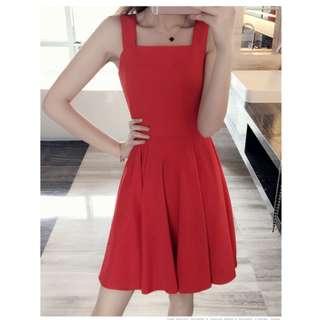 Square Neckline Red Dress #Fesyen50