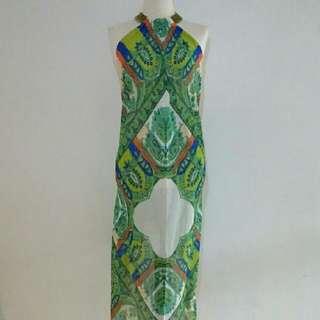 Green Bohemian Backless Dress