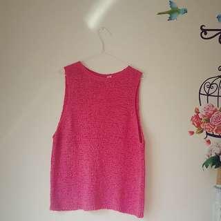 T By Bettina Liano Sleeveless Knitwear  Top Open Back Slit Hot Pink