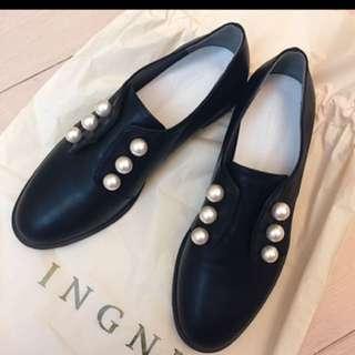 正韓國黑色皮質珍珠牛津鞋便鞋
