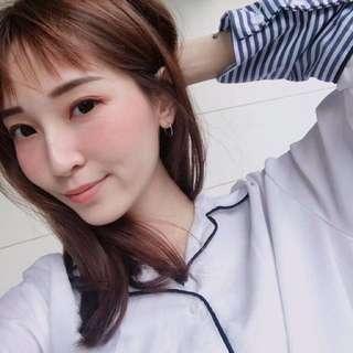 袖口條紋白襯衫 睡衣風 翁馨儀