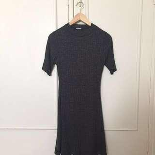 Dark gray ribbed skater dress