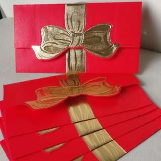 Envelope Packet ↪ Red with Gold Foil Ribbon 🎀🎀 Stamping & Embossed 💱 $2.50 Each Packet - 5 Pieces