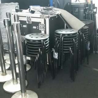 Chairs, Stools ,Q-Poles for rent
