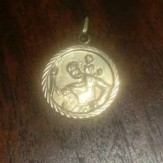 St Christopher protection necklace charm  9kt gold