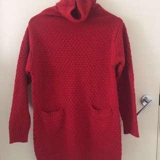 Winter Knit Dress Red