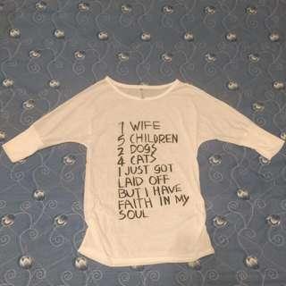🚚 免運❤韓版寬鬆純白棉上衣薄款七分袖上衣 #交換最划算