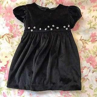 Velvet black baby dress