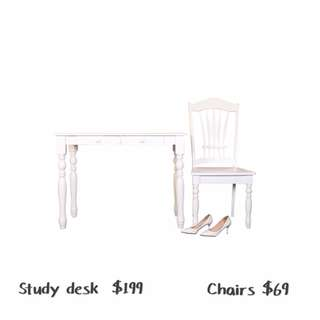 Amour Brand Rubber wood Study Table & Chair set (10 Year Warranty)