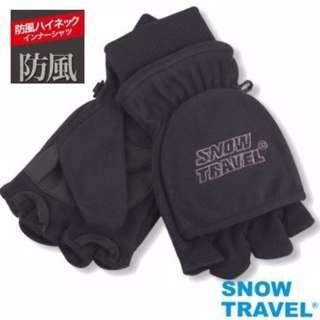 [SNOW TRAVEL] AR-48 台製高防風透氣雙層半指手套/黑/M號/騎車/賞雪