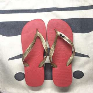 Make Your Own Havaianas Red Sole; Gold strap IRON MAN themed 😆Sz 39/40