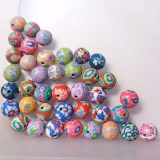 Clay Round Loose Beads Assorted Colours