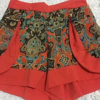 Printed Orange Shorts