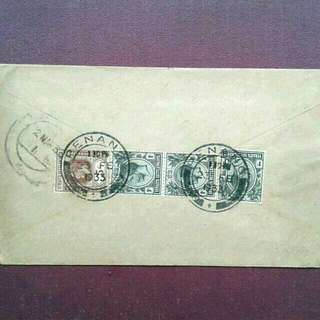 1933 Malaysia Penang Used Cover $3 Registered Mail