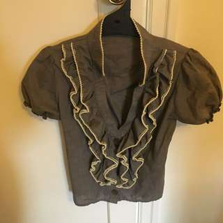 Grey Top/Blouse With Cream Detailing Size 6