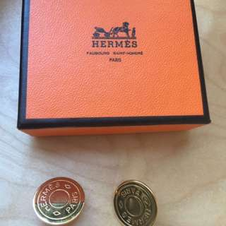 Authentic Hermes round earrings clip on with box and common dustbag