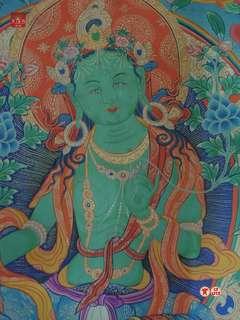 西藏傳佛教綠度母唐卡檀城90x64cm頂端上處為釋迦牟尼佛畫面結構細緻法像莊嚴無裱框實物僅提供自取不便寄送