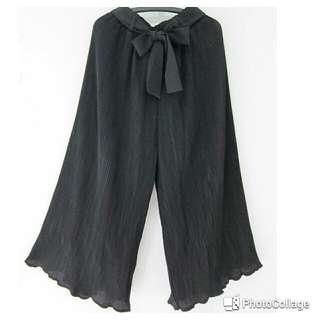 全新黑色皺褶寬褲