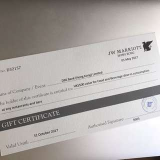JW Marriot $500 for food and beverage dine-in consumption