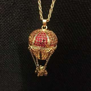 Teddy on a hot air balloon bling charm necklace
