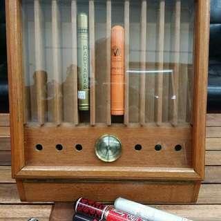 原木  雪茄收藏保濕盒(儲放,展示)内附保濕盒,濕度表