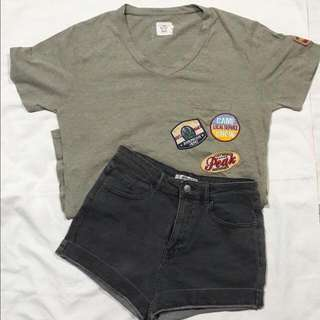 Army Green Patched Shirt