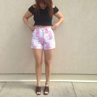 Vintage Floral high waist Shorts
