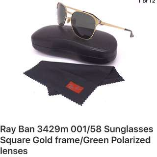 RAY BAN SUNGLASS SQUARE GOLD POLARIZED LENSE ALMOST NEW