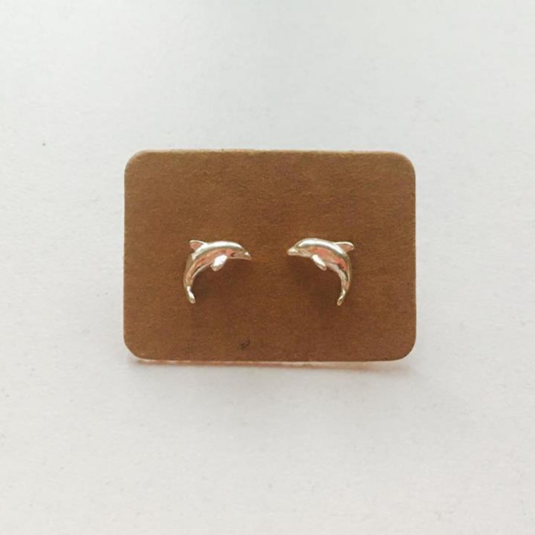 925 STERLING SILVER DOLPHIN DAINTY BASIC STUDS SIMPLE SMALL EARRINGS