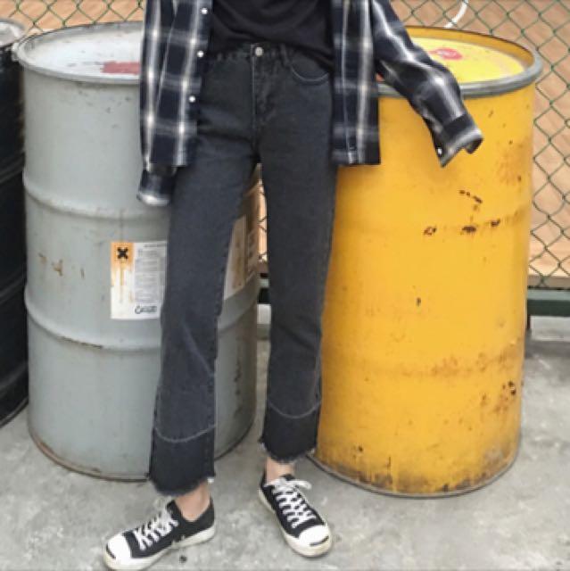 韓版黑色拼接直筒牛仔褲