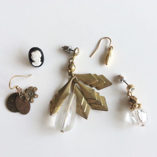 美國古董單邊針式耳環五件組 - 維多利亞公園