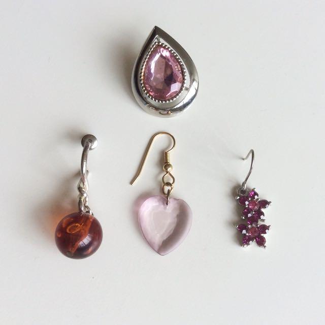美國古董針式耳環四件組 - 粉紅魔幻