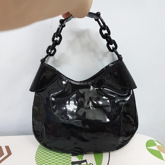 Authentic Burberry Genuine Patent Leather Black Shoulder Hobo Bag  - Looks New!