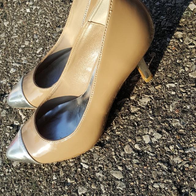 Beige and Silver Heels