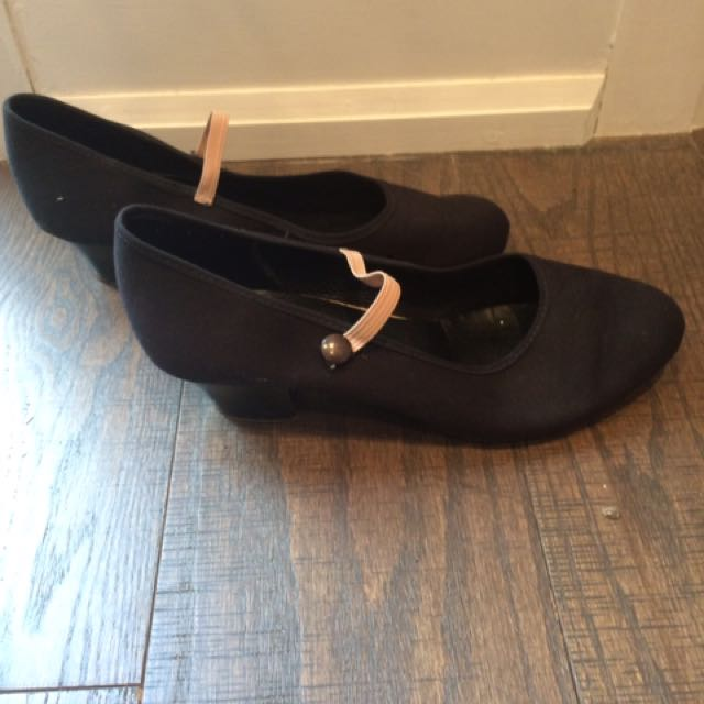 Black Canvas Cuban Heel Character Dance shoes