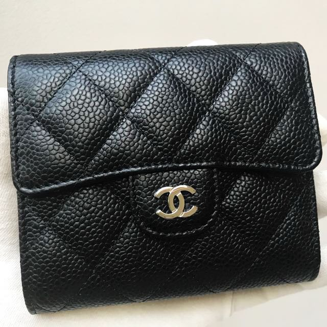 b6d1dfb26768 <BRAND NEW+100% AUTHENTIC> CHANEL Black Caviar Leather Silver Hardware  Wallet #A82288, Luxury, Bags & Wallets on Carousell
