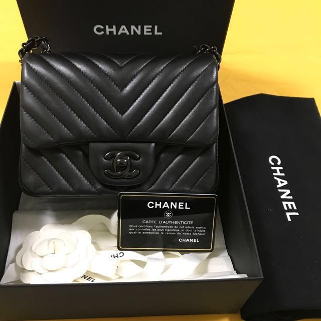 ab73eca0799d78 Chanel mini square chevron so black limited edition, Luxury, Bags & Wallets  on Carousell