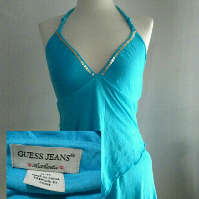 Guess Jeans Blue Halter Top