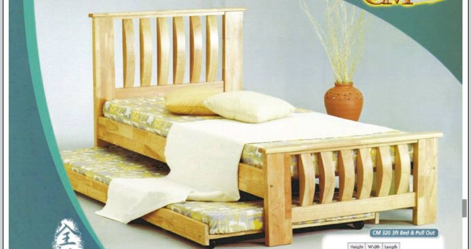 Katil Kayu 3 Single Bed Will Pullout Frame Model Cm320 Home Furniture Furniture On Carousell