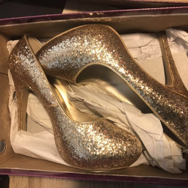 Kimihara Gold Glitter Heels