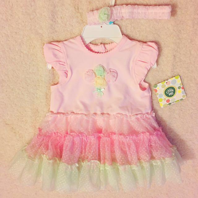 Little me 粉紅紗裙洋裝附頭圍
