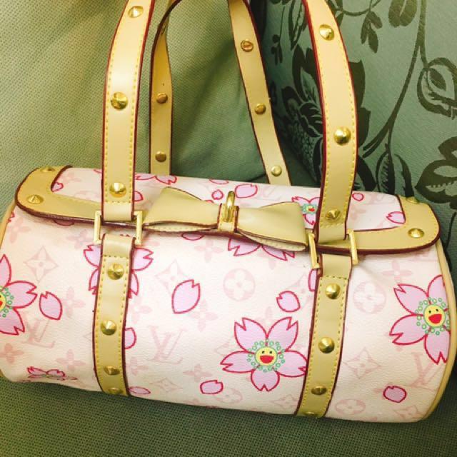 LV 粉色花紋包包