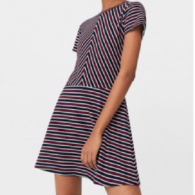 Mango Navy & Red Self Striped Skater Dress
